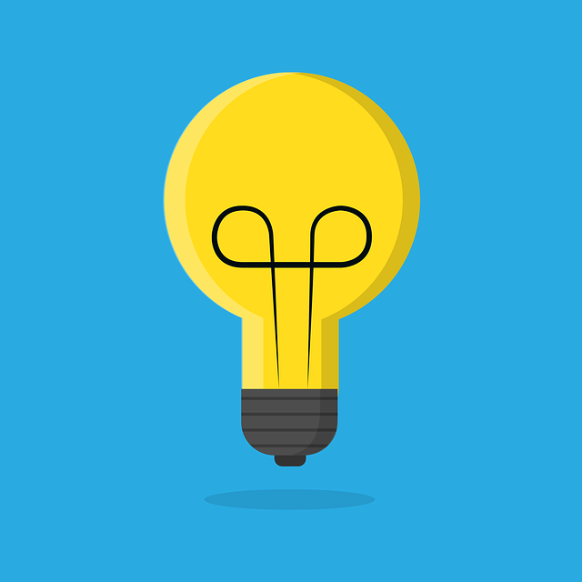 lightbulb on blue background